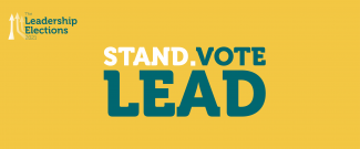 Yellow background, Leadership Elections logo, Stand.Vote.Lead title in turquoise